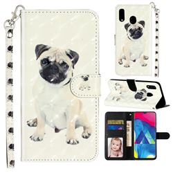 Pug Dog 3D Leather Phone Holster Wallet Case for Samsung Galaxy M20