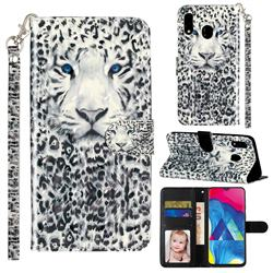 White Leopard 3D Leather Phone Holster Wallet Case for Samsung Galaxy M20