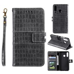 Luxury Crocodile Magnetic Leather Wallet Phone Case for Samsung Galaxy M20 - Gray