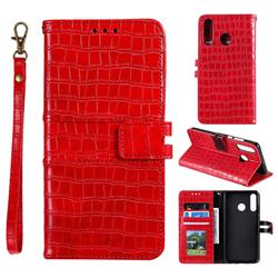 Luxury Crocodile Magnetic Leather Wallet Phone Case for Samsung Galaxy M20 - Red