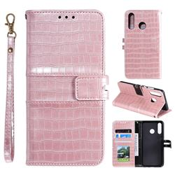 Luxury Crocodile Magnetic Leather Wallet Phone Case for Samsung Galaxy M20 - Rose Gold