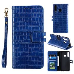 Luxury Crocodile Magnetic Leather Wallet Phone Case for Samsung Galaxy M20 - Blue