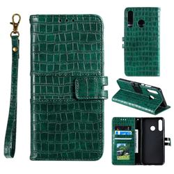 Luxury Crocodile Magnetic Leather Wallet Phone Case for Samsung Galaxy M20 - Green