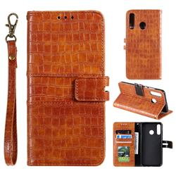 Luxury Crocodile Magnetic Leather Wallet Phone Case for Samsung Galaxy M20 - Brown