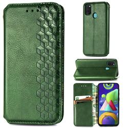 Ultra Slim Fashion Business Card Magnetic Automatic Suction Leather Flip Cover for Samsung Galaxy M21 - Green