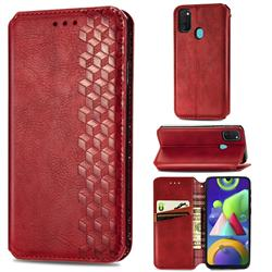 Ultra Slim Fashion Business Card Magnetic Automatic Suction Leather Flip Cover for Samsung Galaxy M21 - Red