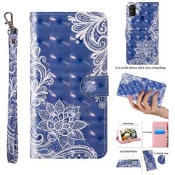 White Lace 3D Painted Leather Wallet Case for Samsung Galaxy M21