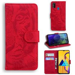 Intricate Embossing Tiger Face Leather Wallet Case for Samsung Galaxy M21 - Red