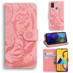 Intricate Embossing Tiger Face Leather Wallet Case for Samsung Galaxy M21 - Pink