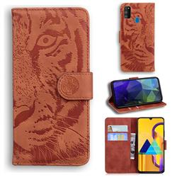 Intricate Embossing Tiger Face Leather Wallet Case for Samsung Galaxy M21 - Brown