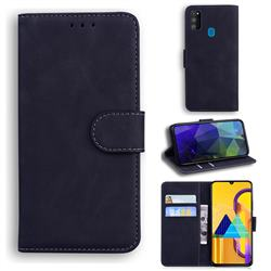 Retro Classic Skin Feel Leather Wallet Phone Case for Samsung Galaxy M21 - Black