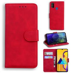 Retro Classic Skin Feel Leather Wallet Phone Case for Samsung Galaxy M21 - Red