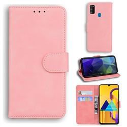 Retro Classic Skin Feel Leather Wallet Phone Case for Samsung Galaxy M21 - Pink