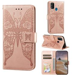 Intricate Embossing Rose Flower Butterfly Leather Wallet Case for Samsung Galaxy M21 - Rose Gold