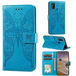 Intricate Embossing Rose Flower Butterfly Leather Wallet Case for Samsung Galaxy M21 - Blue