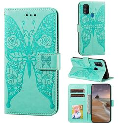 Intricate Embossing Rose Flower Butterfly Leather Wallet Case for Samsung Galaxy M21 - Green