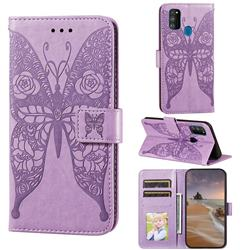 Intricate Embossing Rose Flower Butterfly Leather Wallet Case for Samsung Galaxy M21 - Purple