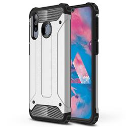 King Kong Armor Premium Shockproof Dual Layer Rugged Hard Cover for Samsung Galaxy M30 - White