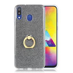 Luxury Soft TPU Glitter Back Ring Cover with 360 Rotate Finger Holder Buckle for Samsung Galaxy M30 - Black