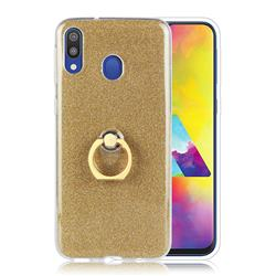 Luxury Soft TPU Glitter Back Ring Cover with 360 Rotate Finger Holder Buckle for Samsung Galaxy M30 - Golden