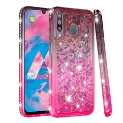 Diamond Frame Liquid Glitter Quicksand Sequins Phone Case for Samsung Galaxy M30 - Gray Pink
