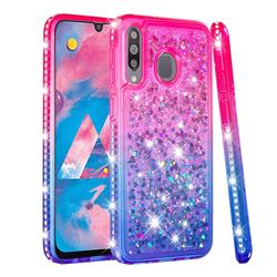 Diamond Frame Liquid Glitter Quicksand Sequins Phone Case for Samsung Galaxy M30 - Pink Blue