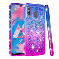 Diamond Frame Liquid Glitter Quicksand Sequins Phone Case for Samsung Galaxy M30 - Blue Purple