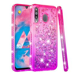Diamond Frame Liquid Glitter Quicksand Sequins Phone Case for Samsung Galaxy M30 - Pink Purple
