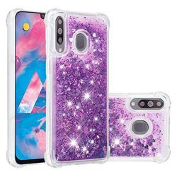 Dynamic Liquid Glitter Sand Quicksand Star TPU Case for Samsung Galaxy M30 - Purple