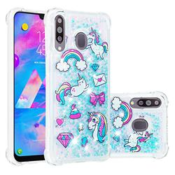 Fashion Unicorn Dynamic Liquid Glitter Sand Quicksand Star TPU Case for Samsung Galaxy M30