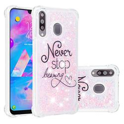 Never Stop Dreaming Dynamic Liquid Glitter Sand Quicksand Star TPU Case for Samsung Galaxy M30