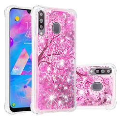 Pink Cherry Blossom Dynamic Liquid Glitter Sand Quicksand Star TPU Case for Samsung Galaxy M30