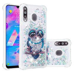 Sweet Gray Owl Dynamic Liquid Glitter Sand Quicksand Star TPU Case for Samsung Galaxy M30