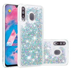 Dynamic Liquid Glitter Quicksand Sequins TPU Phone Case for Samsung Galaxy M30 - Silver