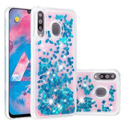 Dynamic Liquid Glitter Quicksand Sequins TPU Phone Case for Samsung Galaxy M30 - Blue