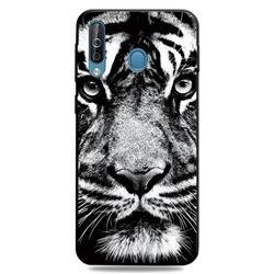 White Tiger 3D Embossed Relief Black TPU Cell Phone Back Cover for Samsung Galaxy M30