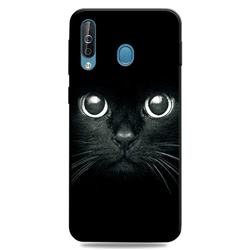 Bearded Feline 3D Embossed Relief Black TPU Cell Phone Back Cover for Samsung Galaxy M30