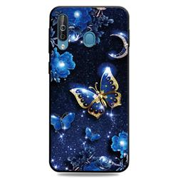 Phnom Penh Butterfly 3D Embossed Relief Black TPU Cell Phone Back Cover for Samsung Galaxy M30