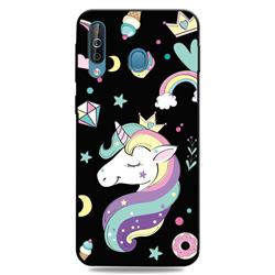 Candy Unicorn 3D Embossed Relief Black TPU Cell Phone Back Cover for Samsung Galaxy M30