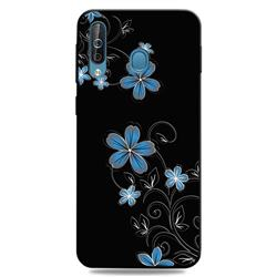 Little Blue Flowers 3D Embossed Relief Black TPU Cell Phone Back Cover for Samsung Galaxy M30