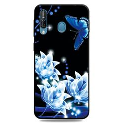 Blue Butterfly 3D Embossed Relief Black TPU Cell Phone Back Cover for Samsung Galaxy M30