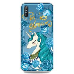 Blue Flower Unicorn Clear Varnish Soft Phone Back Cover for Samsung Galaxy M30