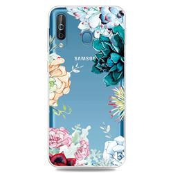 Gem Flower Clear Varnish Soft Phone Back Cover for Samsung Galaxy M30