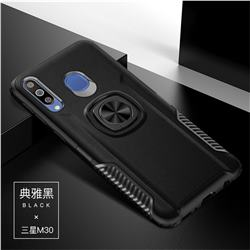 Knight Armor Anti Drop PC + Silicone Invisible Ring Holder Phone Cover for Samsung Galaxy M30 - Black