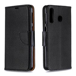 Classic Luxury Litchi Leather Phone Wallet Case for Samsung Galaxy M30 - Black