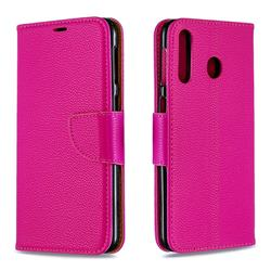 Classic Luxury Litchi Leather Phone Wallet Case for Samsung Galaxy M30 - Rose