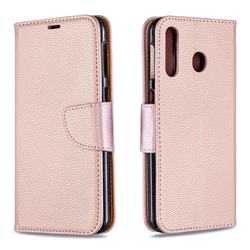 Classic Luxury Litchi Leather Phone Wallet Case for Samsung Galaxy M30 - Golden