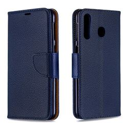 Classic Luxury Litchi Leather Phone Wallet Case for Samsung Galaxy M30 - Blue