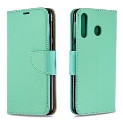 Classic Luxury Litchi Leather Phone Wallet Case for Samsung Galaxy M30 - Green