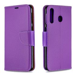 Classic Luxury Litchi Leather Phone Wallet Case for Samsung Galaxy M30 - Purple